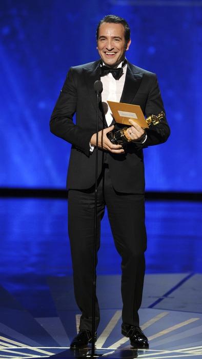 """Жан Дюжарден на церемонии """"Оскар 2012 в номинации """"Лучший мужская роль"""""""""""