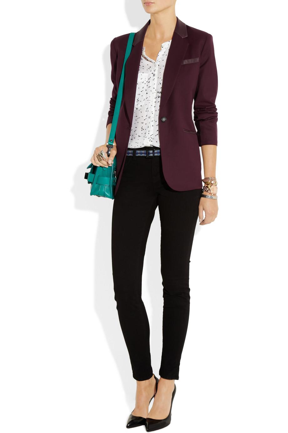 Бордовы пиджак с чем носить